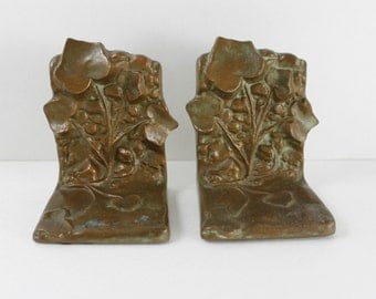 Vintage Ivy Bookends Signed Barclay Paperweight Doorstop Art Nouveau 4.5""