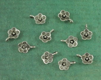 Silver Flower Charm Tags - Package of 10 - Hill Tribe Thai Silver Style