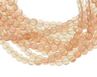 Clear Light Pink 6mm Round Glass Beads - Full 16 inch strand - Approximately 72 beads