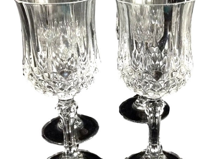 Crystal Stemware Glasses Set of 4 by Crystal d'Arques Longchamp Vintage Lead Crystal Goblets 6.5 inches Tall