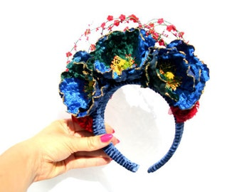 flower crown blue/red, Flower Headband blue/red, Spring 2016, Spanish, Mexican,vintage flowers ,mexican flower crown, velvet flowers