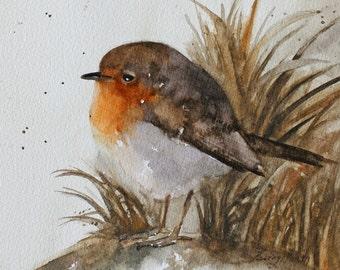 For her folk painting of bird painting bird wall hanging fall decor folk art print of bird woodland nursery painting watercolor 5x5
