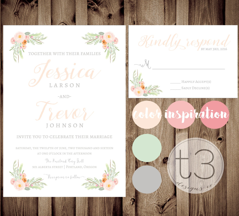 Vintage Wedding Invitation and Response card Wedding invitation