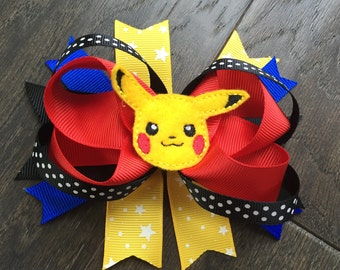 Pikachu inspired stacked hair bow
