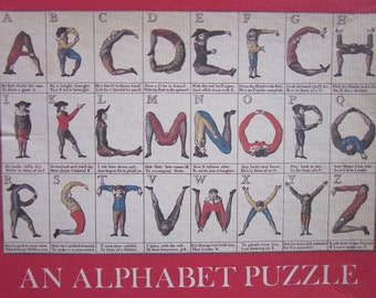 """Vintage ABC Puzzle """"An Alphabet Puzzle"""" The Comical Hotch-Potch, Or The Alphabet Turn'd Posture- Master from Williamsburg"""
