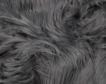 Charcoal Gray Luxury Faux Fur Fabric - 1 Yard Style 5000