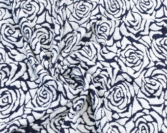 Jacquard Knit Jacquard Navy Off White Designer Rose Floral Knit Fabric - 1 Yard Style 478