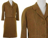Vintage 1960s Women's 2-Piece Wool Suit / Harrods of California / Scottish Woollen / Fall Colors