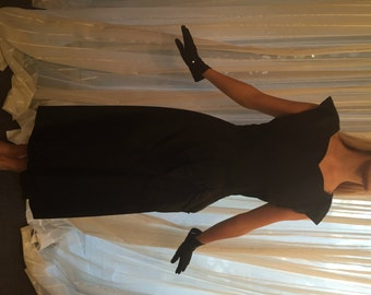 Vintage Black Taffeta Party Dress, ca 1930s
