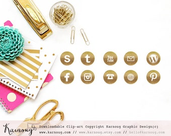 Glitter Gold Social Media Icons, Clip Art, Downloadable Clip Art, Social Media Icons, Gold Social Media, Sparkle Icons, Web Buttons
