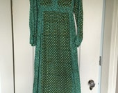 Vintage boho ethnic block print cotton maxi dress green tunic caftan - India Imports of Rhode Island
