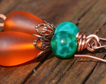 Green Agate and Orange Sea Glass Beaded Earrings