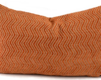 Orange Cut Velvet Chevron Lumbar Pillow Cover, Orange & Light Gray Cut Velvet Throw Pillow Cover, 12x20, Maxwell Zig Zag Tangerine