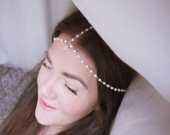Pearl Headchain With Jewel Drop Grecian Bridal Headpiece Headband Rosary Chain Wedding