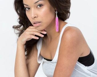 Tassel earrings, neon pink glass beaded, Swarovski crystals, sterling silver earwires.