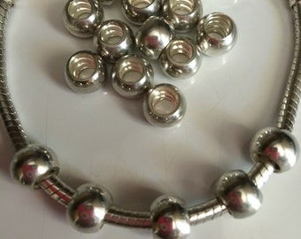 Sterling Silver Spacer Bead..Seamless..Separator..large hole..add-a bead..for bracelet or necklace..gift