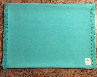 Turquoise Placemats..FREE MONOGRAM..Cotton Handloom Place Mats..Set of 4..Gift
