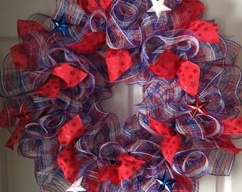 SALE..WAS 69.00/NOW 59.00..Stars Patriotic Deco Mesh Wreath
