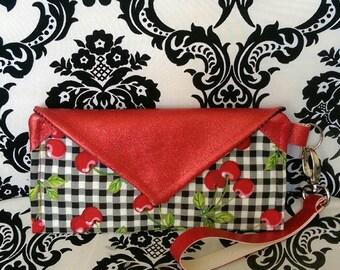Cherry Red Vinyl Wristlet Wallet