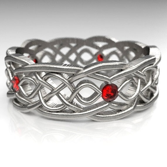 Celtic Wedding Ring With Cut-Through Infinity Symbol Pattern With Ruby Stones in Sterling Silver, Made in Your Size CR-1049