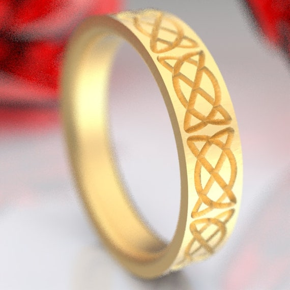 Gold Celtic Dara Knot Engraved Design in 10K 14K 18K or Palladium, Made in Your Size Cr-747