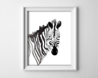 "INSTANT DOWNLOAD 8X10"" printable digital art - Black and White - Zebra - Safari Nursery wall decor- Minimalist - Bedroom - SKU:428"