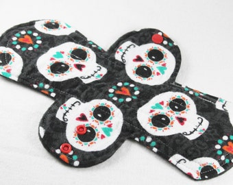 "Reusable Cloth Pad - 11"" (28cm) Heavy - Happy Sugar Skulls Flannel"