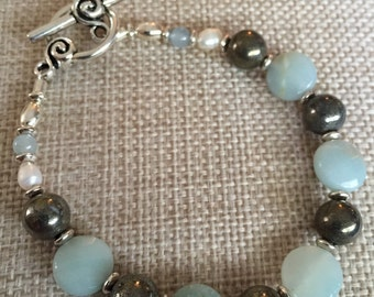 Faceted Amazonite, Hematite Bracelet
