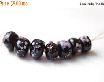 ON SALE Amethyst Beads Dark Purple Lampwork Beads Dark Amethist Pink Dotted Glass Lampwork Beads Purple Amethyst Beaded Jewelry Earring Find