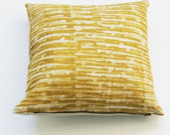 Maize Yellow Linen Pillow Cover-Thin Stripe- Batik Blockprinted- 20x20 Throw Pillow