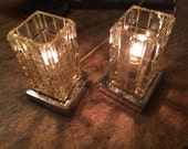 Set Vintage Crystal Lamps Pair Elegant Cut Glass Vanity Lamps (2) Matching Glass Table Lights Retro Clear Glass Geometric Pattern Lighting