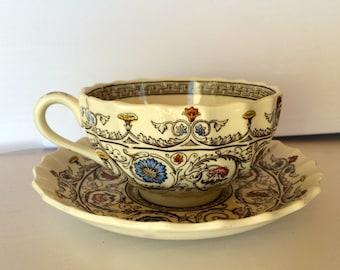 "Spode ""Florence"" Antique Tea Cup Saucer Copeland England Classic Elegant Design English Tea Collectible China Vintage Flower Garden Tea Set"
