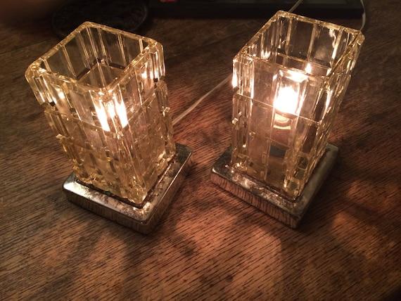 Set Vintage Crystal Lamps Pair Elegant Cut Glass Vanity Lamps