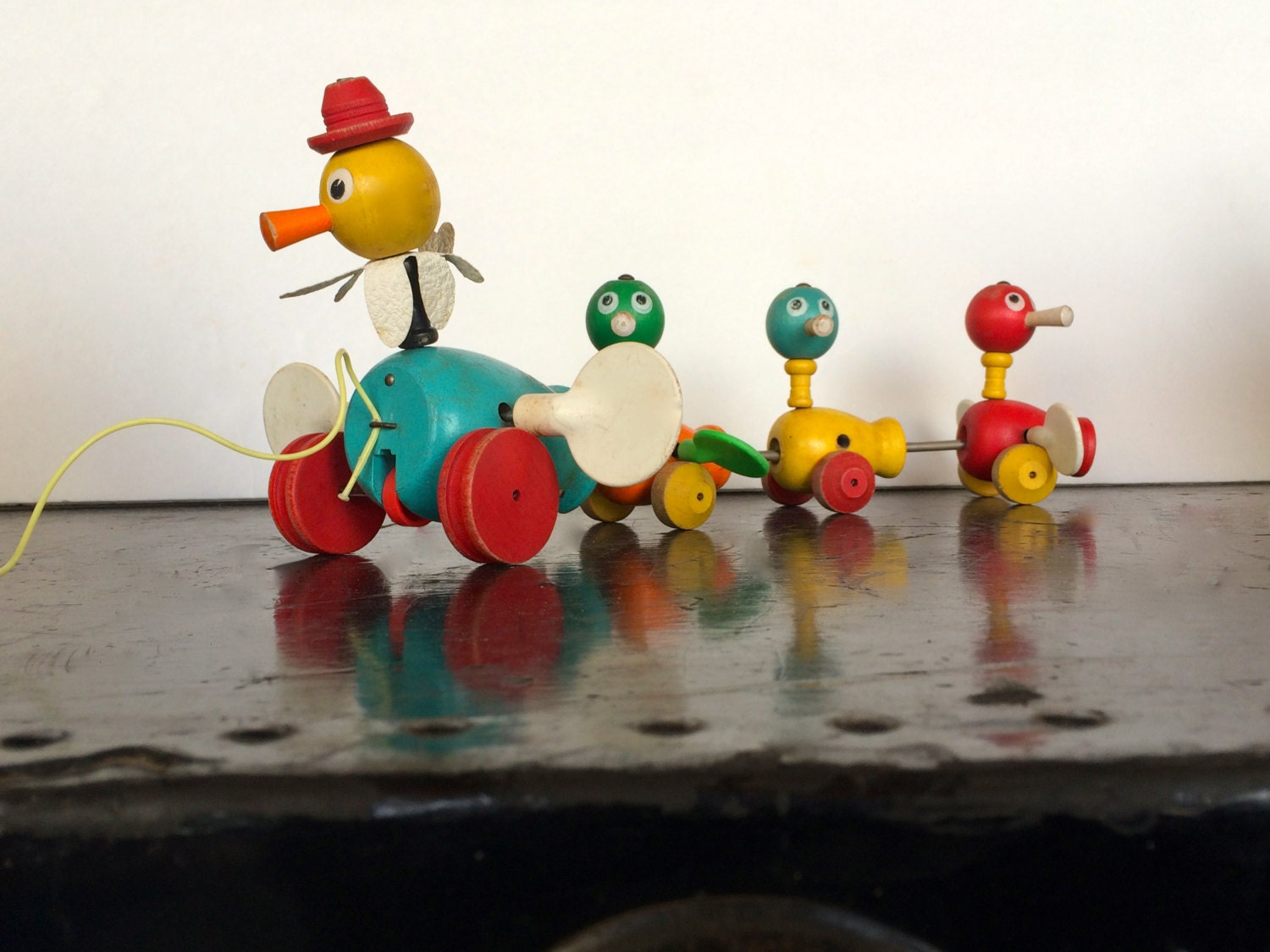Vintage 1950s Fisher Price Pull Toy Ducks Mama Amp Baby Ducks