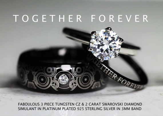 doctor who inspired wedding set 3 his 8mm by c9ttungsten