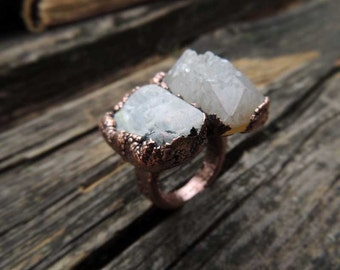Agate druzy and Moonstone ring, dual stone ring, size 7.75 US, raw gemstone, statement ring, electroformed ring, gypsy, jewelry by MARIAELA