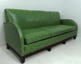 Rare Vintage Art Deco Three Seat Sofa Green Vinyl Nouveau Pattern Couch