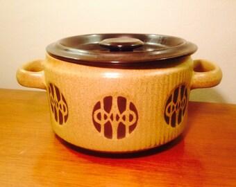 Vintage flame frost casserole –Beanpot- stoneware