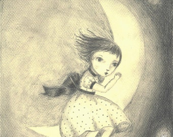 swinging on the moon original artist print
