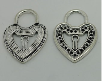2pcs Heat Lock Charms, 51x37mm Antique Silver Large Heart Lock Charm Pendant