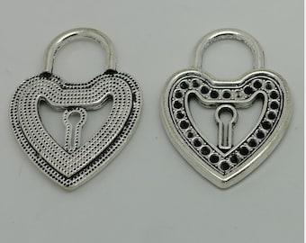 2pcs Heat Lock Charms, 51x37mm Antique Silver Large Heart Lock Charm Pendant