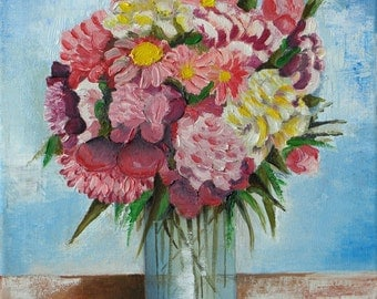 "Original, Oil painting on canvas, Still Life Painting "" Summer bouquet"""
