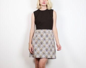 Vintage 1960s vestito marrone Tan Argyle quadri in stile Mod Mini abito anni 1960 abito Scooter Abito hostess senza maniche una linea Skirt Dress M Medium