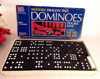 Dominos Game Wooden Dragon Double Nine 55 Pieces Milton Bradley Hasbro Vintage 1983