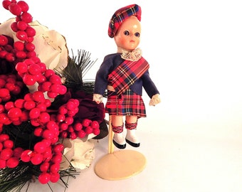 Scottish Heritage Doll Vintage 1950's 6 Inch Sleepy Eyed Boy Doll Tartan Kilt Red Plaid Tam Collectible Made in England