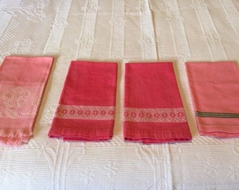 Four Guest Towels, Pink Tones, Cotton, Huck Embroidery, Swedish