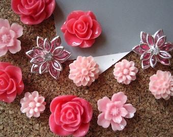 Pink Thumbtacks, Decorative Push Pins, 12 pcs Pushpins, Bulletin Board Thumbtacks, Wedding Decor, Gifts, Housewarming Gift