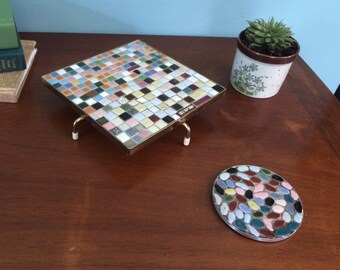 "Retro Mid Century Multicolor Tiled Mosaic Trivet and Coaster Set, 7"""