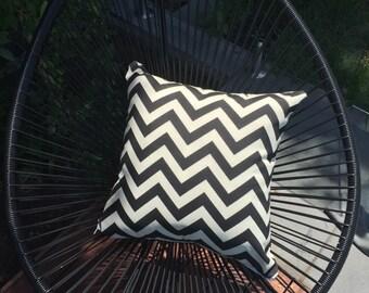 50cm Outdoor Cushion Cover in Premier Prints in Chevron Design in Ebony Zig Zag design