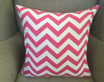 Cushion Cover/Pillow in Premier Prints Zig Zag Candy Pink Twill Fabric